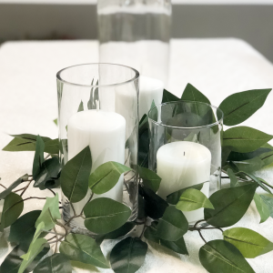 Greenery with candles